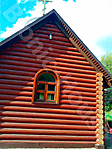 Окраска фасада церкви из сруба_1